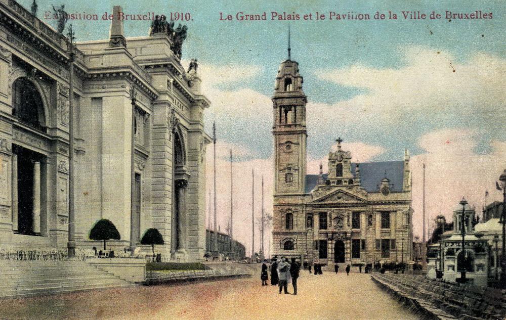 Exposition de bruxelles 1910 le grand palais et le pavillon de la ville de bruxelles cartes - Expo le grand palais ...